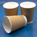 12oz Kraft Ripple Cups