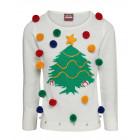 Ladies White Christmas Tree Jumper