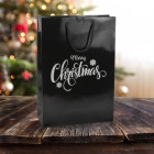 250mm Merry Christmas Black Paper Carrier Bags *Silver Prt*