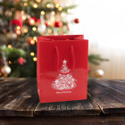 160mm Red Christmas Tree Paper Carrier Bags