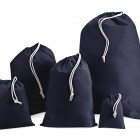 250mm Navy Cotton Drawstring Bags