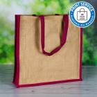 410mm Natural Jute Bags Pink Side Panels