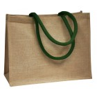 Jute Bags With Bottle Green Handles