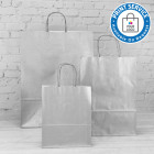 180mm Silver Paper Carrier Bags Twisted Handles