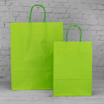 Lime Green Paper Carrier Bags