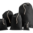 100mm Black Cotton Drawstring Bags