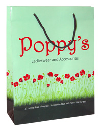 Poppys Full Colour Printed Paper Carrier Bags