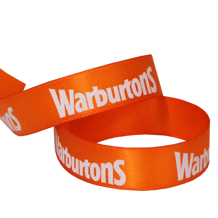 Warburtons printed ribbon 15mm double faced satin